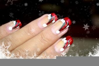 Santa Hat French Manicure Tutorial
